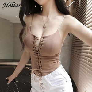 Image 3 - HELIAR Drawstring Crop Top Female Camis V neck Vest White Stretchy Tank Tops Femme Club Sexy Knitting Skinny Tank Tops Women