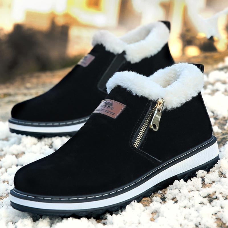 Velvet Winter Boots Plush Boots Men Shoes 2019 Fashion Solid Zipper Fashion Cotton Flat With Warm Snow Boots Men Boots No-slip