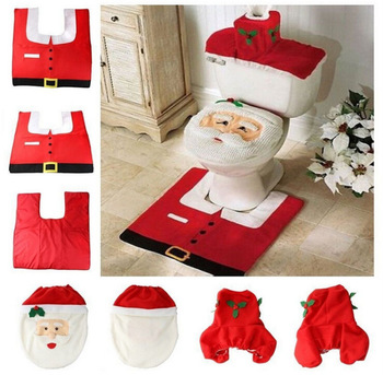 Christmas Decorations Santa Claus Bathroom Mat Xmas Toilet Seat Cover Home Decor for Navidad 2021 Noel Natal Good House Supplies 2021 new year gift santa claus wine bottle dust cover xmas noel christmas decorations for home navidad 2020 dinner table decor