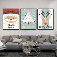 Kunst Malerei Weihnachten Santa Schnee Baum und Tier Deer Leinwand Malerei Poster und Drucke Hause Wand Dekoration Malerei