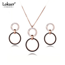 Lokaer White Shell Black Acrylic Double Circle Stainless Steel Necklace Earrings Bridal Sets Trendy Wedding Bands Jewelry SE024