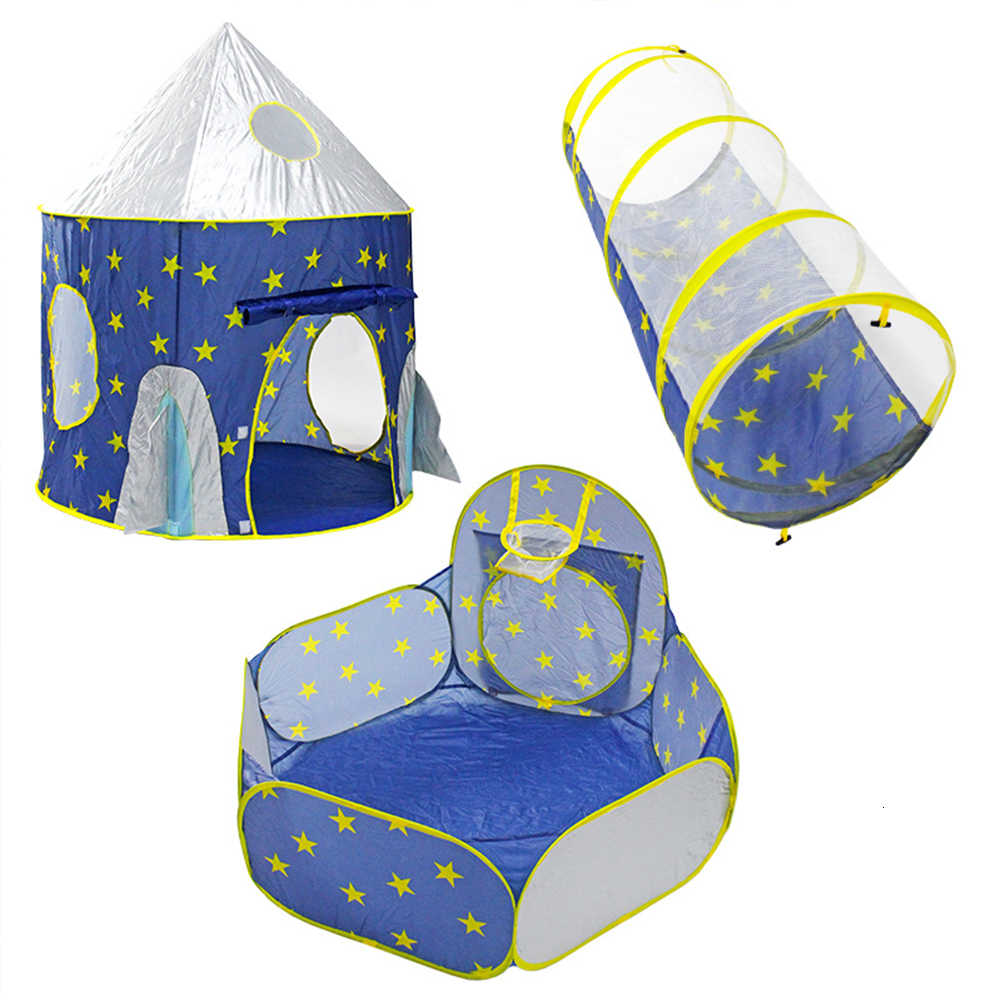 Children's Tent Portable 3 In 1 Spaceship Wigwam Rocket Ship Tent For Kid Foldable Dry Pool Ball Pool Children House Beach Toy