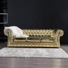Sofá de lujo de alta calidad de nuevo diseño de sala de estar de madera vintage de U-BEST, sofá grande de cuero para boda, sofá de 3 plazas