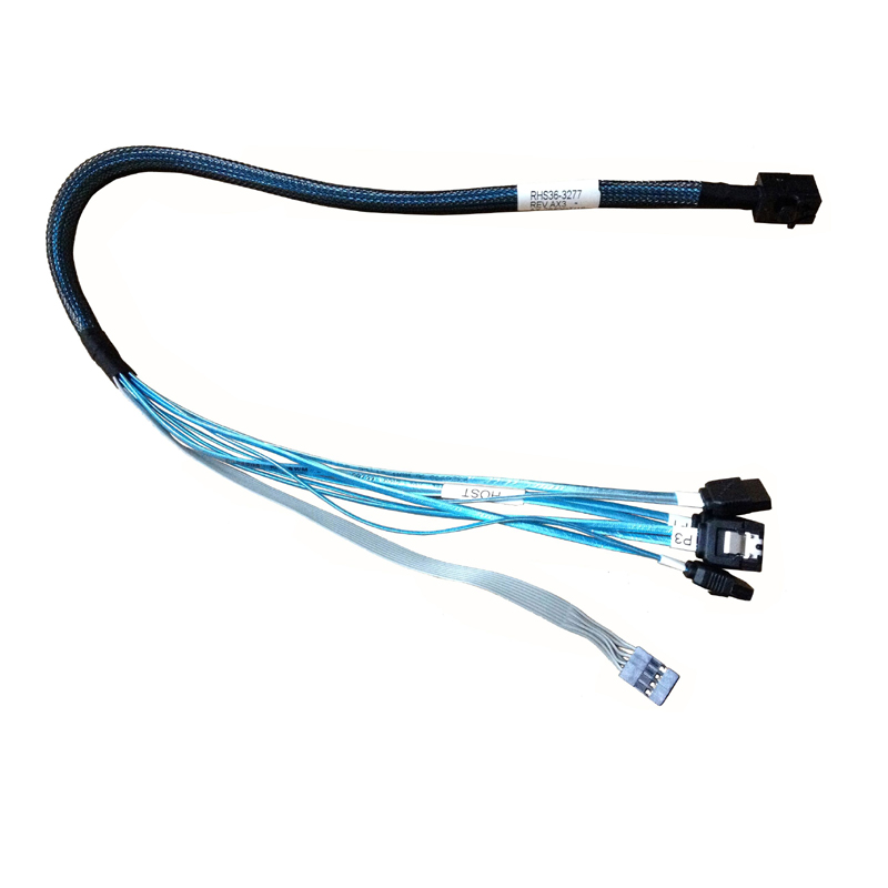 NEW SFF8643 to 4SATA Fan Out <font><b>Cable</b></font> 45CM Internal HD <font><b>Mini</b></font> SAS SFF-8643 to 4x SATA Reverse <font><b>Cable</b></font> with <font><b>4Pin</b></font> Power Cord for AMPHENOL image