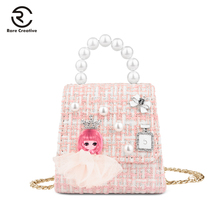 RARE CREATIVE Mini Sweet Fashion Shoulder Bag Pearl Designer Handbag For Girl Casual Chain Small Cross Body Bag Women Bag HS8012 princess sweet lolita bag original girl soft sister satchel handbag little pig bag cute sprouting chain wrapped mouth bag cc123