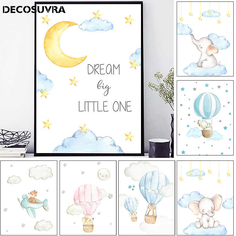 Duvar resimleri kızlar için bebek çocuk dekorasyon yatak odası posteri hayvan fil kreş baskı sanat dekoru resim sergisi tuval oturma odası
