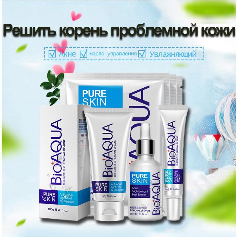 6pcs Acne Skin Care Set Cleanser Essential Oil Cream Mask Kit Punctual Timing