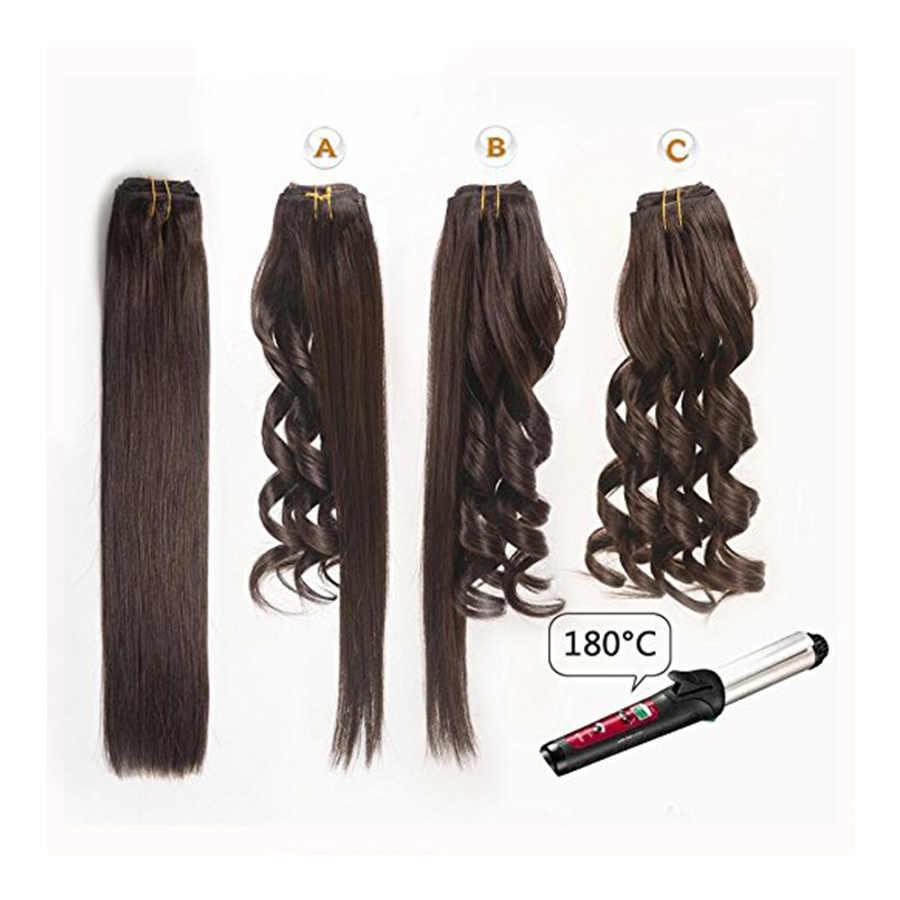 BHF, 3 piezas, Clip en extensiones de cabello humano, máquina recta hecha a máquina, cabello chino Remy 100%, 30g, 90g