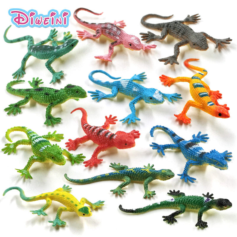 12pcs Simulation Mini Lizard Reptile Animal Model Lifelike Action Figure Home Decor Gift For Kids Toys For Children Boys Girls