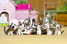 9pcs/set Cute Mini Cheese Cats Kitty Cat Statue Resin Figurines Garden Pot Figures Decoration for Home Kids Toys Gift