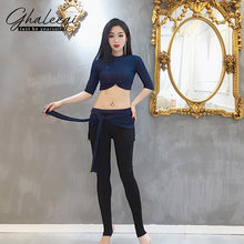 Women belly dance training suit top and trousers skirt set modal coat pants dancers training performance uniforms(China)