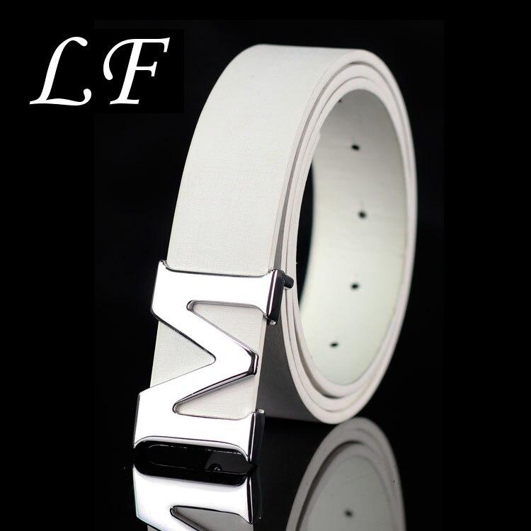 New Shelves , Unisex Pants Belt , Fashion Solid Color Women Metal Belts . Thin Man / Women M Letter Belt
