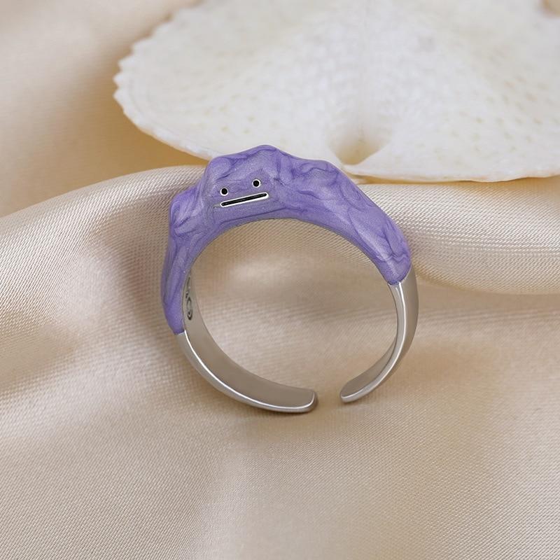 Новые открытые кольца с забавным монстром, капающее масло, фиолетовое милое женское кольцо, дизайнерское модное кольцо с улыбкой, оптовая п...