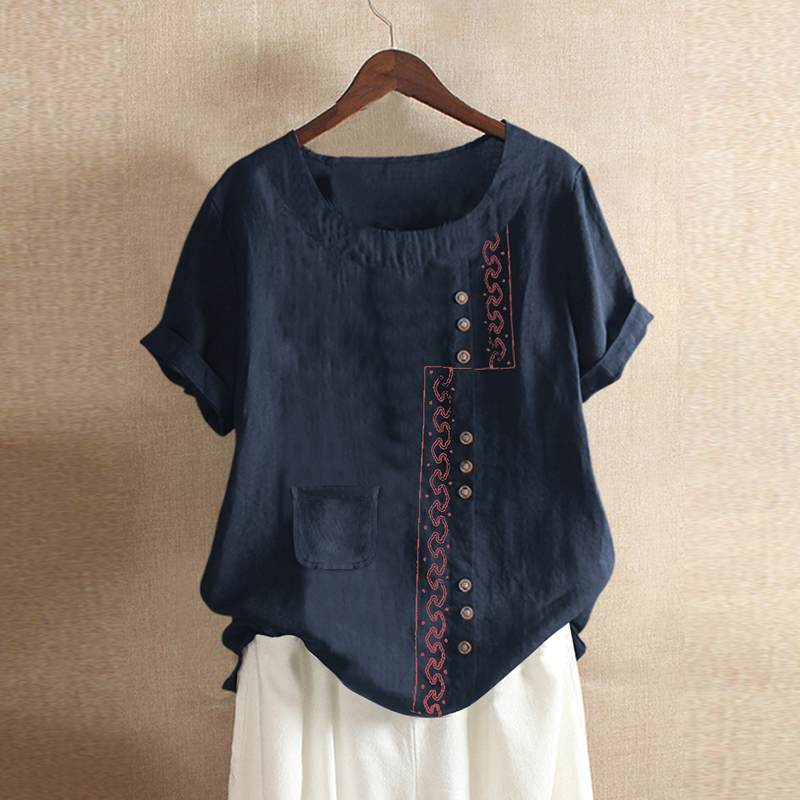 Fashion Embroidery Top Women's Patchwork Blouse ZANZEA 2020 Casual Short Sleeve Tee Shirts Female Button BLusas Plus Size Tunic