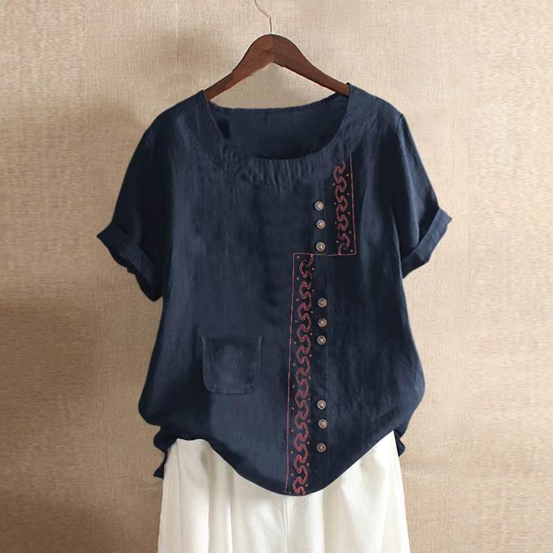 Fashion Embroidery Top Women's Patchwork Blouse ZANZEA 2020 Casual Short Sleeve Tee Shirts Female Button BLusas Plus Size Tunic