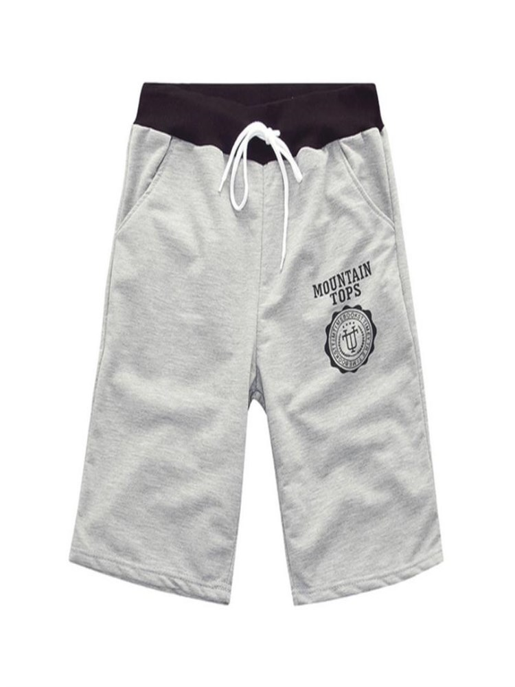 VISNXGI Drawstring Shorts Elastic-Waist Printed Male Cotton Summer Plus-Size Casual Beach