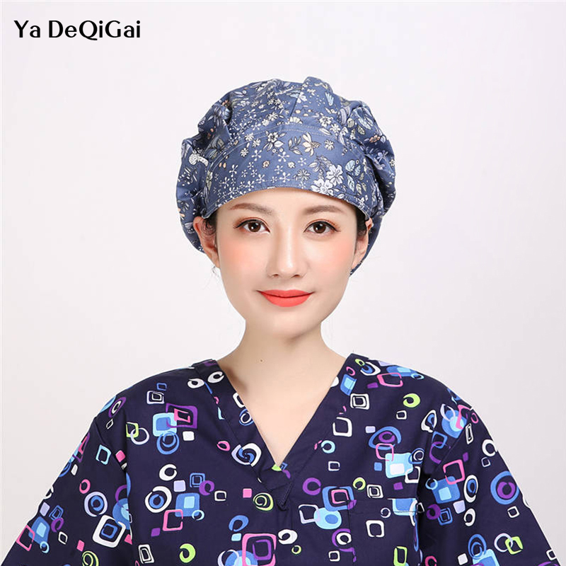 High Quality Adjustable Nurse Hat Hospital Dental Clinic Surgical Floral&Fruit Printed Scrub Cap Laboratory Pharmacy Medical Hat