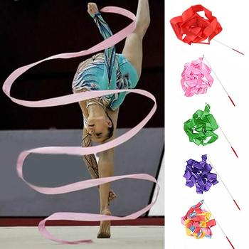 4M Colorful Gym Ribbons Dance Ribbon Rhythmic Art Gymnastic Ballet Streamer Twirling Rod Stick For Gym Workout Equipment image