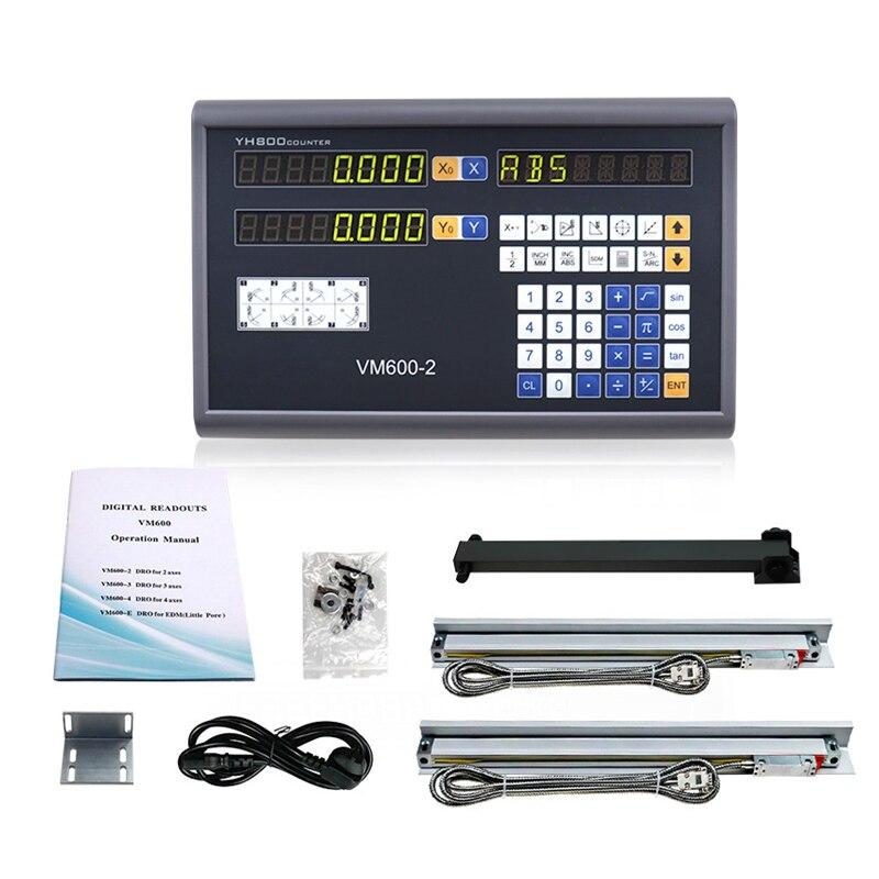 WSFS chaud complet Machine-outil 2 axes numérique lecture Dro ensemble/Kit et 2 pièces 5U linéaire verre échelles linéaire optique règle pour moulin