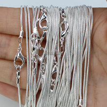 10pcs/lot Silver Plated 1.2mm Snake Chain Necklaces for Women 16