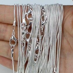 10 pièces/lot argent plaqué 1.2mm serpent chaîne colliers pour femmes 16