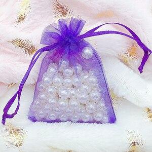 Image 2 - 50 adet hediye organze çanta takı ambalaj şeker düğün parti Goodie ambalaj iyilik kek torbalar çekilebilir çantaları mevcut tatlılar için