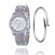 2019 Fashion Dress Watches Women Men Faux Chronograph Quartz Plated Classic Round Crystals Watch relogio masculino Casual Clock(China)