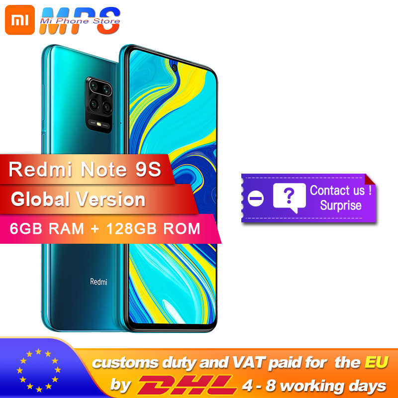 Global Version Xiaomi Redmi Note 9S 6GB 128GB Smartphone Snapdragon 720G Octa Core 5020 MAh 48MP Quad Camera Note 9 S