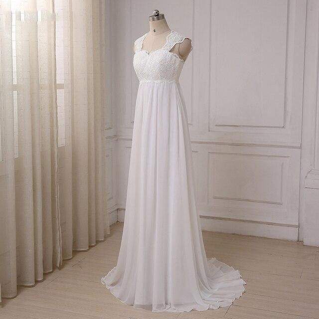 Cheap Beach Wedding Dresses Vestido De Noiva Cap Sleeve Sweetheart Empire Chiffon Bridal dress Lace Pregnant Weding Dress 3