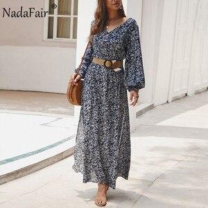 Nadafair Vintage Floral Maxi Dress Summer A-Line High Waist Lantern Sleeve Spring Long Elegant Retro Boho Dress Women Vestidos(China)