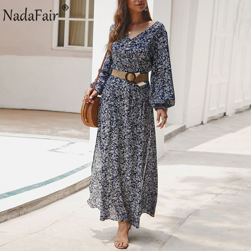 Nadafair Vintage Floral Maxi Dress Summer Long A-Line High Waist Lantern Sleeve Spring Elegant Retro Boho Dress Women Vestidos