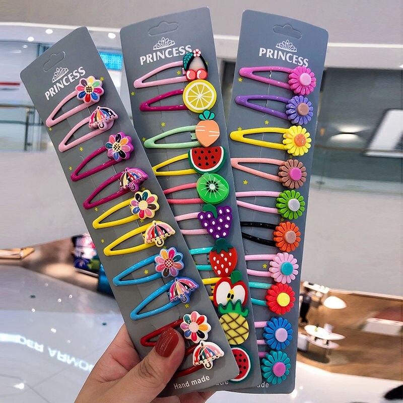 10Pcs/Lot Girls Hair Accessories Imitated Fruit Hairclip Umbrella Barrette Cute Sunflower Headdress Flower Hair Clip For Kids