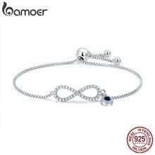 BAMOER Trendy 925 Sterling Silver Luminous CZ Infinity Bracelets for Women Fashion Bracelet Jewelry Making Gift SCB087