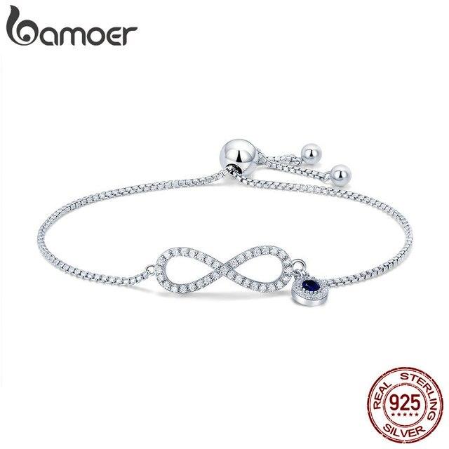BAMOER Trendy 925 ayar gümüş parlak CZ Infinity bilezikler kadınlar için moda bilezik takı yapımı hediye SCB087