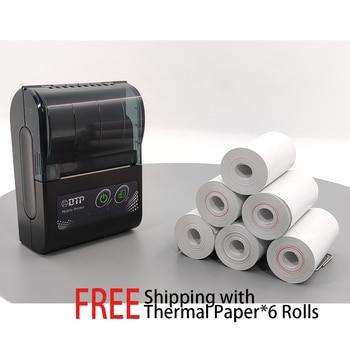 цена на Free Thermal receipt paper roll  Small mini Bluetooth thermal printer High speed wireless USB ticket voucher printer
