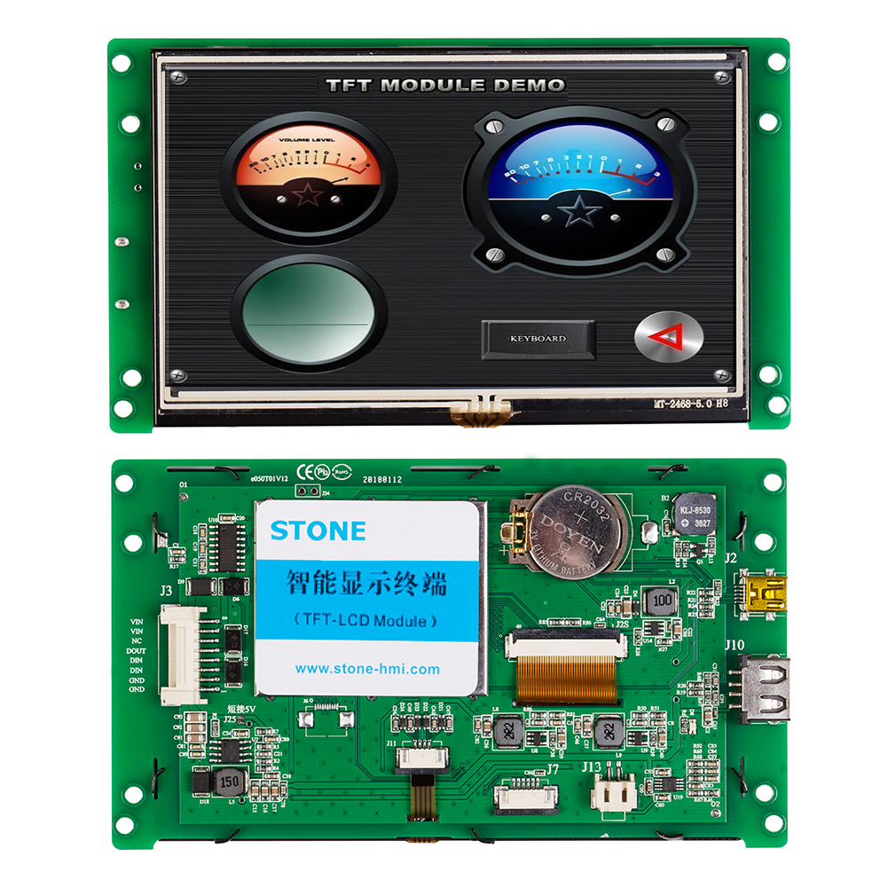 5.0 Inch HMI Smart TFT LCD Display Module With Controller+Program+Touch+UART  Serial Interface