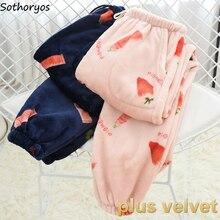 Sleepwear Sleep-Bottoms Flannel Womens Cute Warm Autumn Winter Solid Soft Comfortable