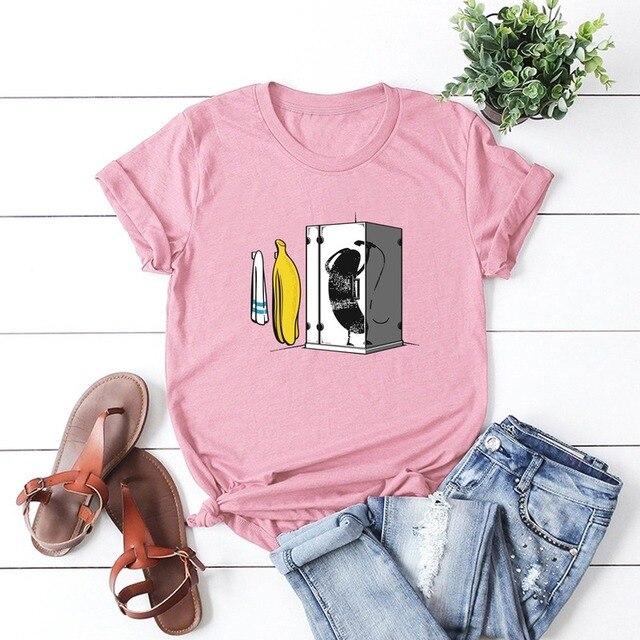 Banana Bathing Fun algodón impreso 100% algodón de manga corta Mujer camiseta Casual suave mujer camiseta Mujer Plus tamaño
