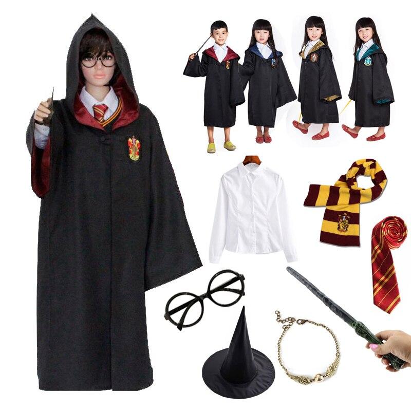 Халат Хаффлпафф Ravenclaw, плащ, шарф, рубашка, волшебная палочка, костюм для косплея для девочек, Женский костюм Гермионы, костюм волшебника на Хэллоуин        АлиЭкспресс