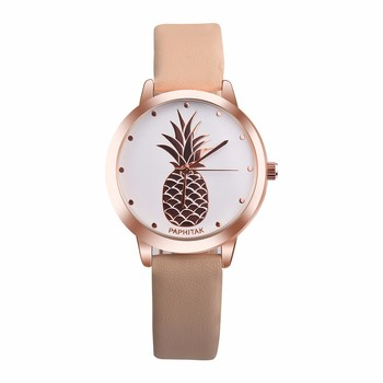 Womens Pineapple Faux Leather Analog Quartz Watch Wristwatches Fashionable Fruit Printing Lovely And Elegant Wristwatches#P3 image
