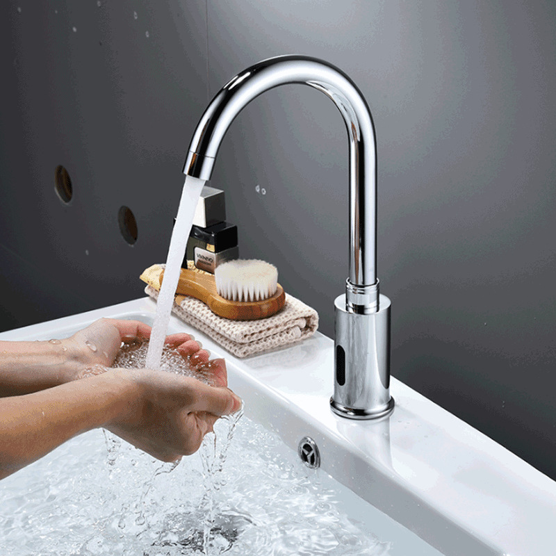 Bathroom Induction Faucet Automatic Single Cooling Induction Faucet All Copper Intelligent Household Sanitizer Hand Washing