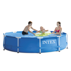 Blau INTEX 305*76 cm Runde Rahmen Oberirdische schwimmbecken Set Teich Familie Schwimmen Pool Filter Pumpe metall rahmen struktur pool