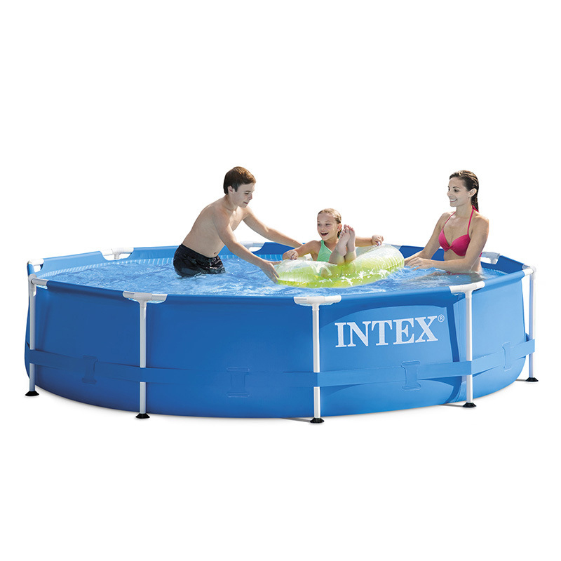 Blue INTEX 305*76 Cm Round Frame Above Ground Swimming Pool Set Pond Family Swimming Pool Filter Pump Metal Frame Structure Pool