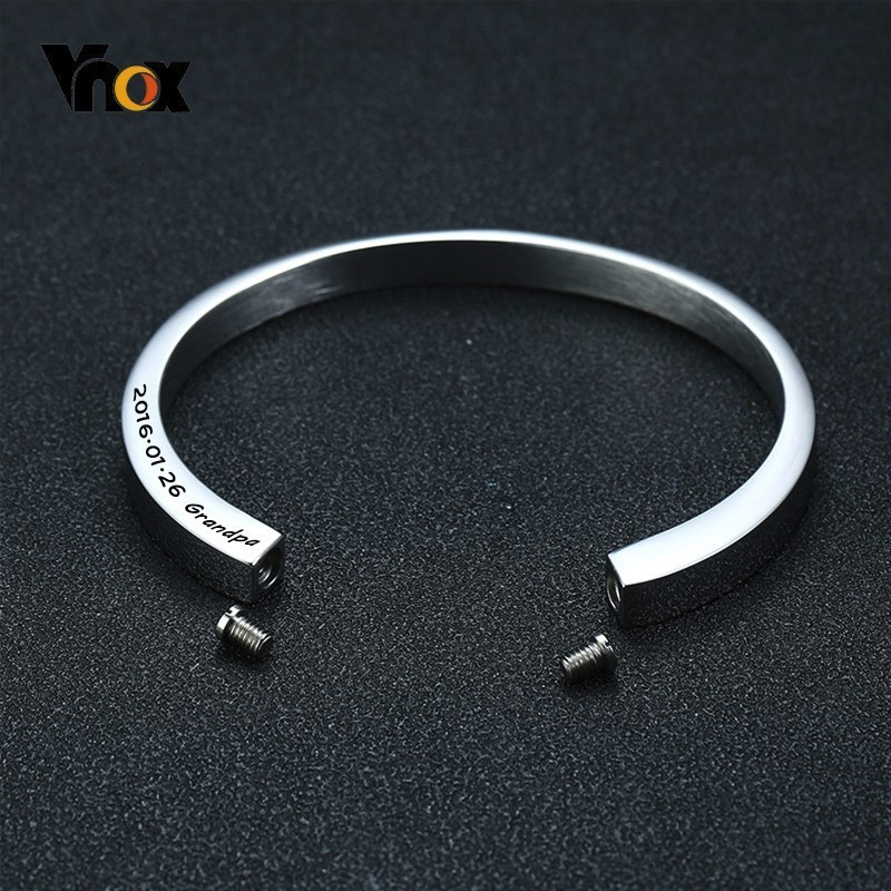 Vnox Free Custom Cremation Urn Bracelet For Ashes Hollow Stainless Steel Mens Cuff Bracelets Never Fade Women Bangle Jewelry