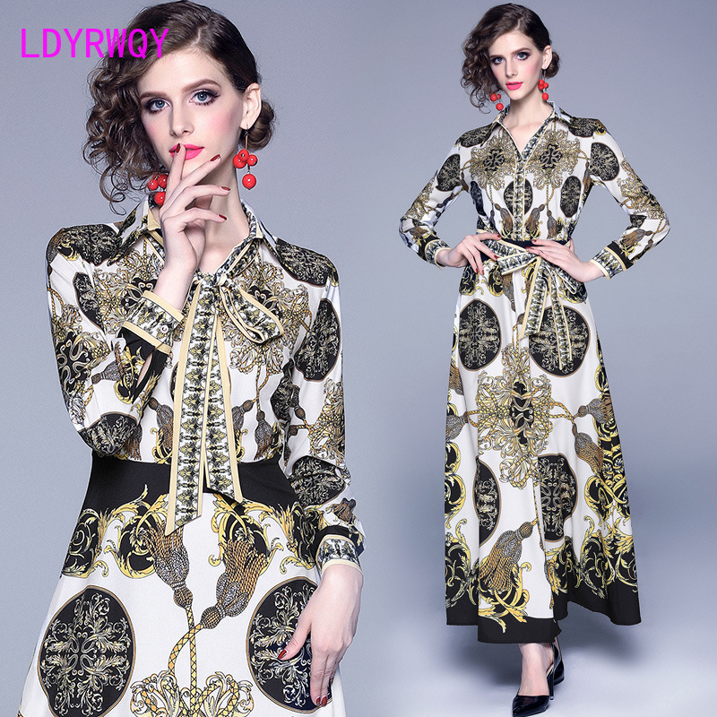 2019 European and American ladies fashion autumn new women 39 s V neck court retro print large swing long sleeved dress in Dresses from Women 39 s Clothing