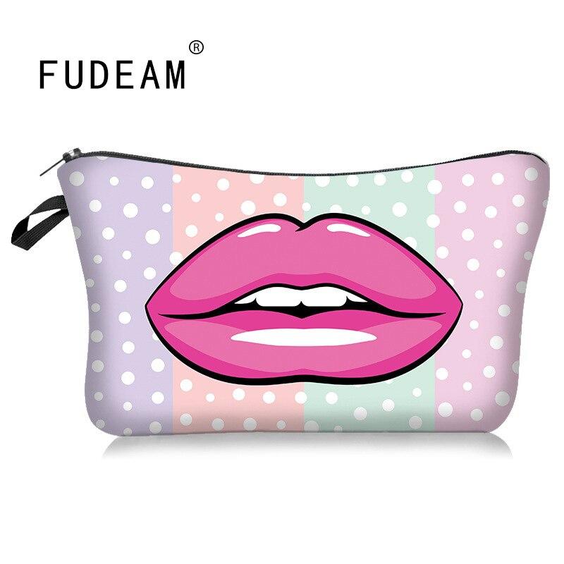 FUDEAM Polyester Lip Print Pattern Portable Women Travel Storage Bag Toiletries Organize Cosmetic Bag Female MakeUp Bag Wash Bag