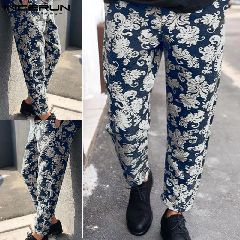 Men Business England Stylish Printing Elastic Waist Pencil Pants Cotton Streetwear Trend Straight Leg Joggers Trousers INCERUN