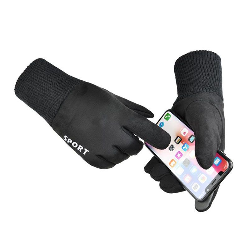1 Pair Winter Gloves Touchscreen Gloves Women Men Thermal Wool Lined Texting Touch Gloves Skiing Running Gloves