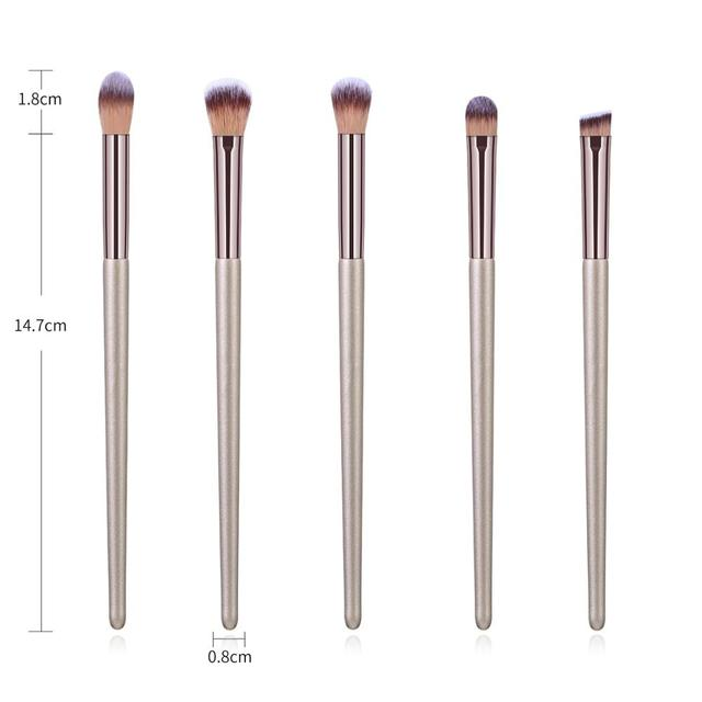 La Milee Champagne Makeup Brushes Set Foundation Powder Blush Eyeshadow Concealer Lip Eye Make Up Brush Cosmetics Beauty Tools 3