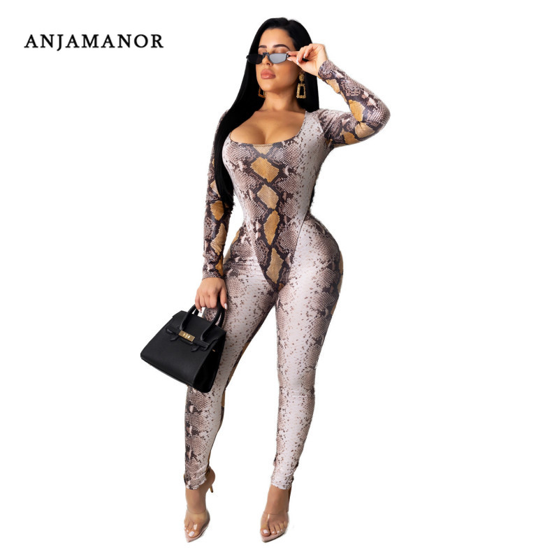 ANJAMANOR Snake Skin Print Sexy Long Sleeve 2 Piece Set Women Bodycon Outfits Club Wear Bodysuit And Pant Matching Sets D91-AD45